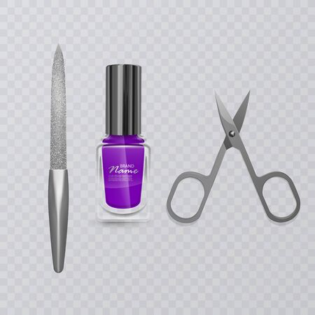 Set of manicure accessories, illustration of manicure scissors, purple nail Polish and nail file, hand care, vector illustration Ilustração