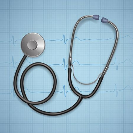 Realistic Medical stethoscope. background with stethoscope medical equipment, Health care concept. Vector illustration.