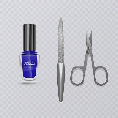 Set of manicure accessories, illustration of manicure scissors, blue nail Polish and nail file, hand care, vector illustration