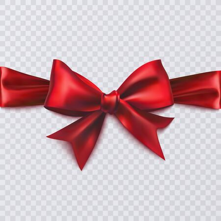 Realistic red bow on transparent background, vector eps 10 illustration