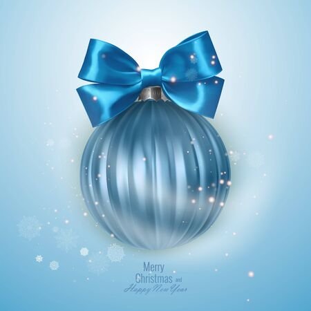 Bright new year card with a realistic Christmas ball, decorated with a bow. Vector eps 10 illustration