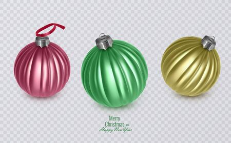 Colorful christmas balls on transparent background, vector eps 10, christmas decorations Ilustração