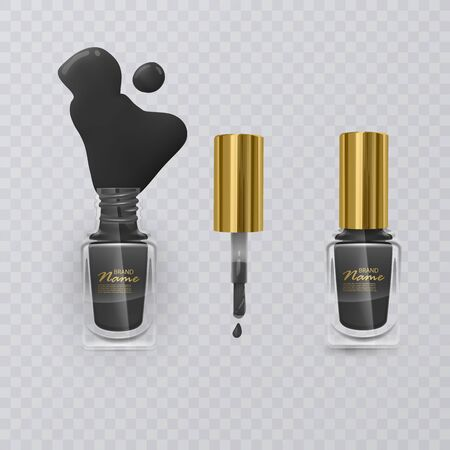 Black nail Polish with gold cap on transparent background, vector eps 10 illustration