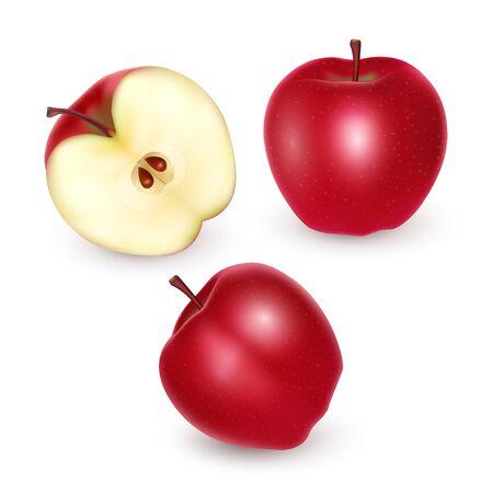 Set of red apples on white background, Ripe apples, vector eps 10 illustration Reklamní fotografie - 135398609