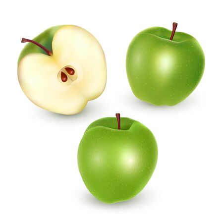 Set of green apples on white background, Ripe apples, vector eps 10 illustration