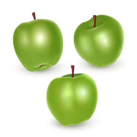 Set of green apples on white background, Ripe apples, vector eps 10 illustration Reklamní fotografie - 135398543