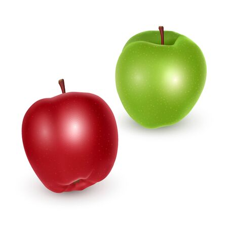 Set of green and red apples on white background, Ripe apples, vector eps 10 illustration Ilustrace