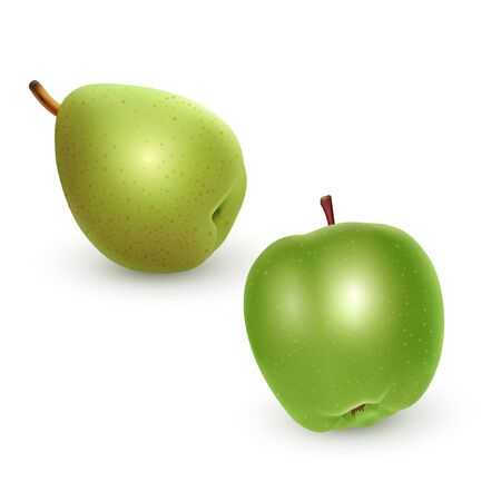 Set of green Apple and Pear on light background, realistic vector eps 10 illustration