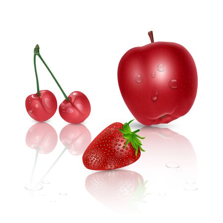 Set of ripe fruit on light background, red Apple, cherry and strawberry on white background, vector eps 10 illustration
