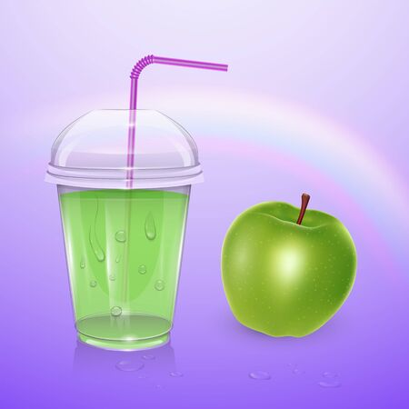 Juice mockup, smoothie cup isolated on purple background, 3d illustration. Realistic plastic Cup with apple juice, vector eps 10 illustration Ilustrace