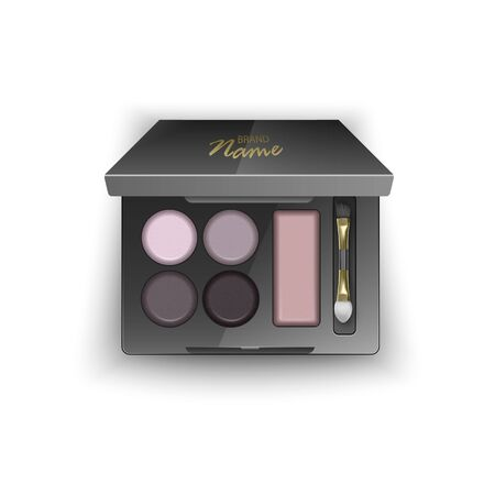 Modern eye shadow palette for smokey eyes. Mockup in 3d illustration, top view of cosmetic product on white backgroun, Vector eps 10 illustration