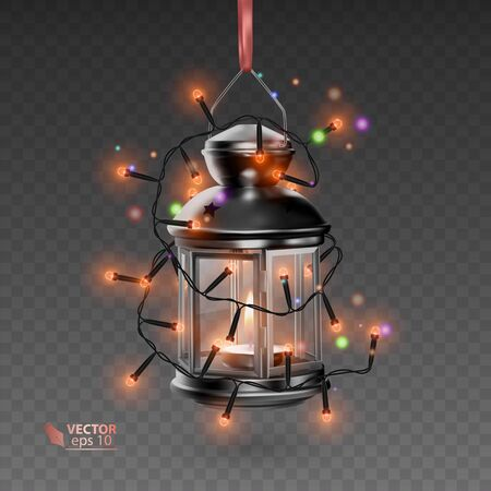 The Magic lamp of black color, surrounded by luminous garlands, realistic lamp on transparent background, vector EPS 10 illustration