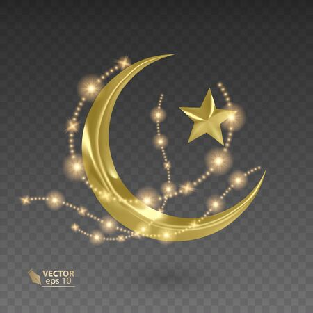 Golden, muslim month surrounded by shiny and golden stars