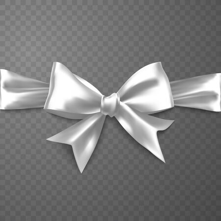 Realistic white bow on transparent background, vector EPS 10 illustration for your design