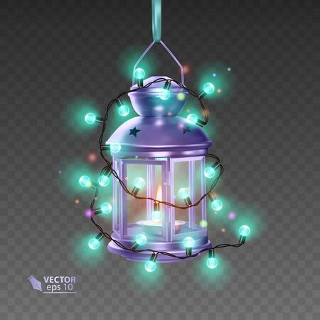 The Magic lamp of purple color, surrounded by luminous garlands, realistic lamp on transparent background, vector EPS 10 illustration
