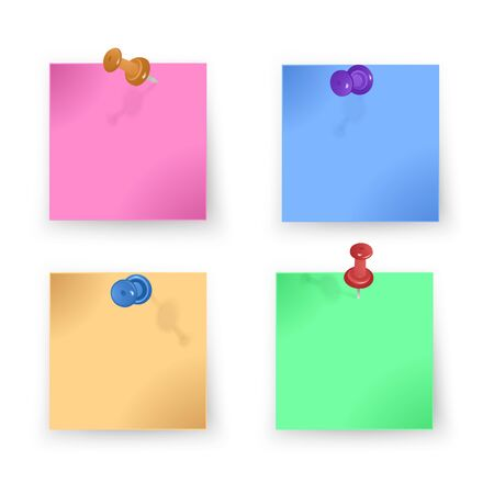 Blank of colorful paper set pinned with colored pushpins on white background, vector EPS 10 illustration