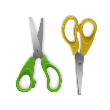 Set of scissors, open and closed on white background. Realistic illustration. Vector