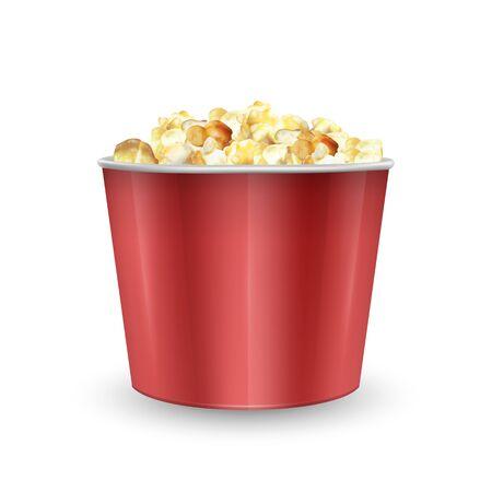 Gestreepte kartonnen schaal gevuld met popcorn, zak vol popcorn. Realistische vectorillustratie, EPS 10