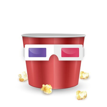 empty popcorn bucket and 3d glasses on white background, Realistic vector EPS 10 illustration