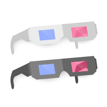 Set of 3D Glasses, black and white colors, Icons isolated on White. Flat Simple Icon. Cinema Movie Film Watching Design Element. Vector Illustration. Ilustracja