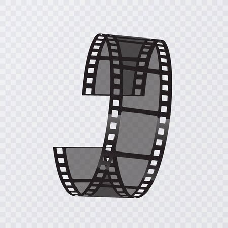 Set of vector film strip isolated on transparent background.Old film strip with, vector Eps 10 illustration