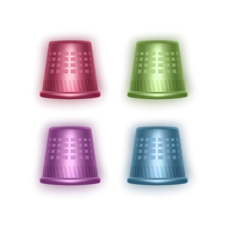 Set Of Thimbles In Realistic Style Of Bright Colors, Thimbles Of Red Green Purple And Blue colors, Vector EPS 10 Illustration Stock Illustratie