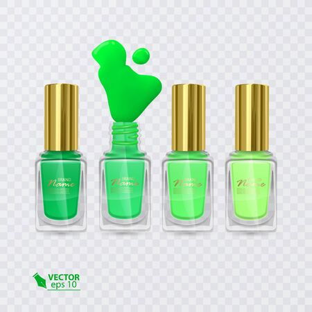Set of nail Polishes of colors from Green to light green, nail polishes on transparent background
