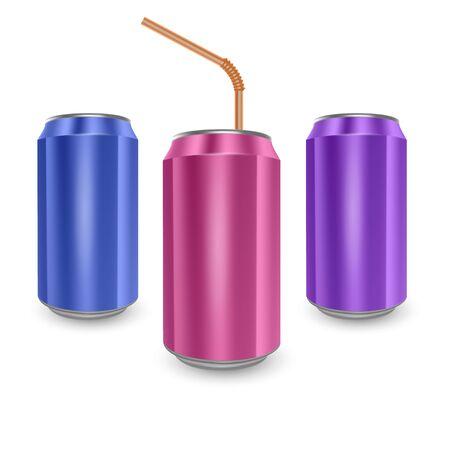 Set von Aluminiumdosen in den Farben Blau, Pink und Lila, isoliert auf weißem Hintergrund. Das Bild des leeren Layouts für Ihr Design, 3D-Illustration