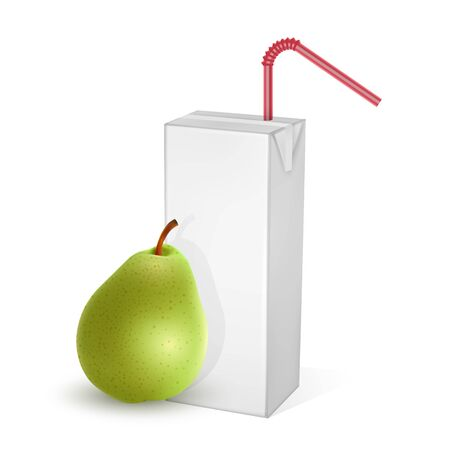 The carton packages of Milk or juice, isolated on light background. carton packages with pear juice, White pack Mockup, vector Eps 10 illustration