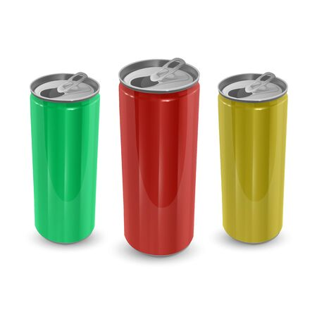 Set of Aluminum cans of yellow,green and red colors, isolated on white background. The image of the empty layout for your design, 3D Illustration