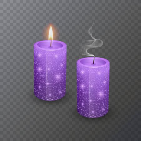 Realistic candle, Burning purple candle and an extinct candle with glittering texture on dark background.