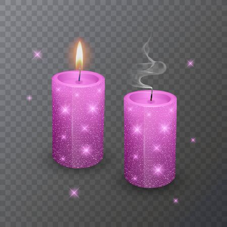 Realistic candle, Burning Pink candle and an extinct candle with glittering texture on dark background. Illustration