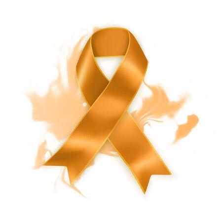 Orange ribbon as symbol of Animal Abuse. Realistic Orange ribbon symbol. Vector EPS 10 illustration