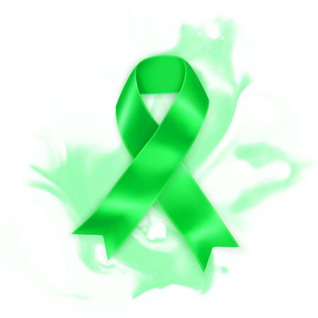 The Green ribbon. Scoliosis, Mental health and other awareness symbol. Realistic Vector illustration