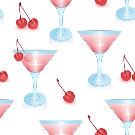 Seamless Endless Pattern on white background, pattern with Alcoholic cocktails and cherry, Can be used in food industry for wallpapers, posters, wrapping paper. Иллюстрация