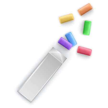Colorful Pads of bubble gums. Chewing gums for healthy teeth and dental hygiene. Vector EPS 10 format illustration