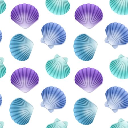 Seamless Endless Pattern with Print of colorful shells on white background. Can be used in food industry for wallpapers, posters, wrapping paper, wedding cards. Vector illustration