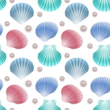Seamless Endless Pattern with Print of colorful shells and pearls on white background. Can be used in food industry for wallpapers, posters, wrapping paper, wedding cards, Vector illustration