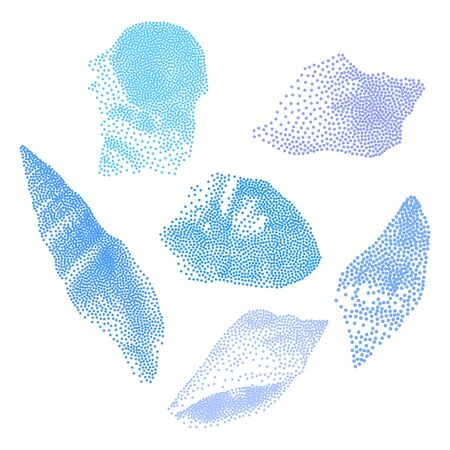 Set of Seashells on white background, seashells in Pointillism style, Vector EPS 10 illustration