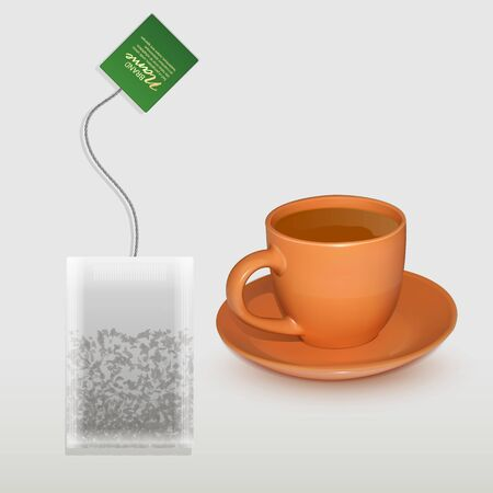 Realistic Cup of tea and shaped tea bag mock up. Isolated on white background, Element for design, advertising, packaging. Vector illustration Illustration