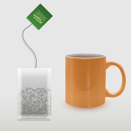 Realistic Cup of tea and shaped tea bag mock up. Isolated on white background, Element for design, advertising, packaging. Vector illustration Ilustração