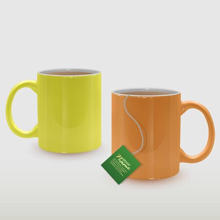 Realistic yellow and orange tea cups, tea mugs on white background.