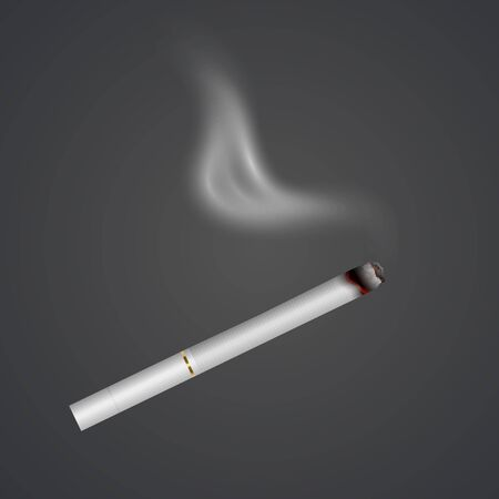 Realistic cigarette with smoke, fire isolated on background. Tobacco. Narcotic problem concept, Vector illustration