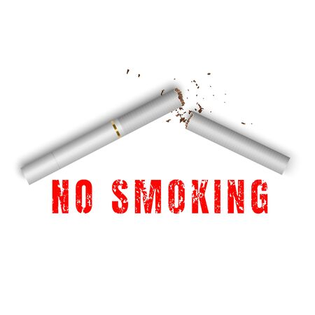 A broken cigarette on white background. Stop smoking sign in realistic style. Illustration