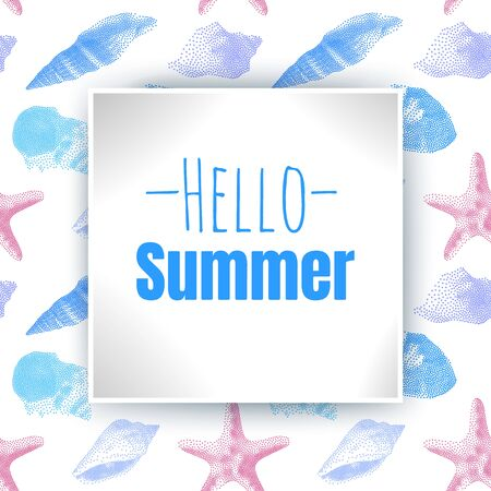 Hello Summer, inscription on the background with colorful seashells in cartoon style. Vector illustration on seamless background.