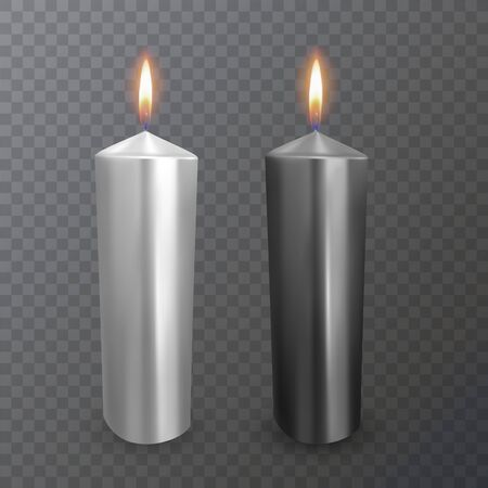 Realistic candles of black and white colors, Burning candles on dark background Illustration