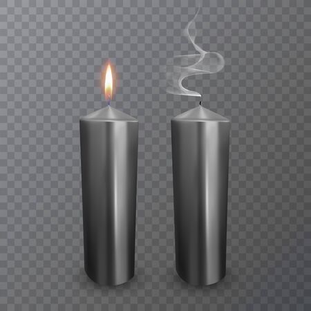 Realistic candles of black color, Burning and extinguished candles on dark background, paraffin or wax on transparent background.