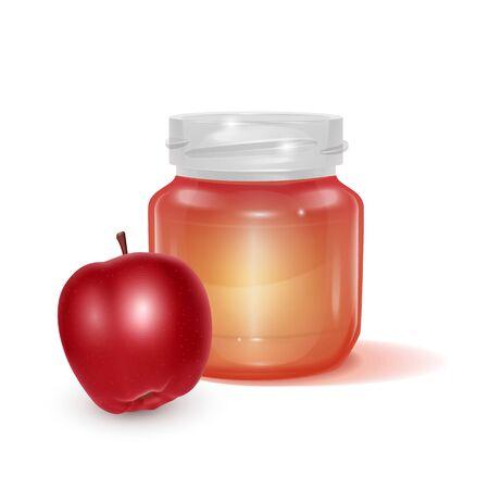 Glass jar with Apple jam on light background, Label for jam. Mockup for your brand realistic vector illustration