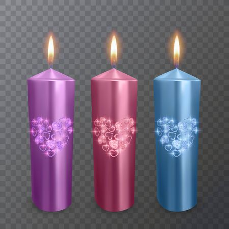 Set of realistic candles of purple, red and blue colors with a shiny coating of hearts, suitable for a romantic dinner, burning candles on transparent background.