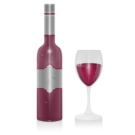 Bottle of red wine and a glass of red wine isolated on white background, illustration in realistic style